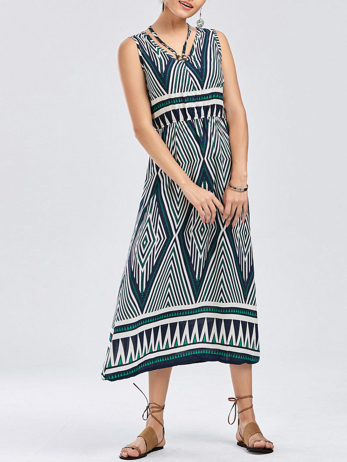 Bohemian Geometric Print Sleeveless Dress - COLORMIX XL