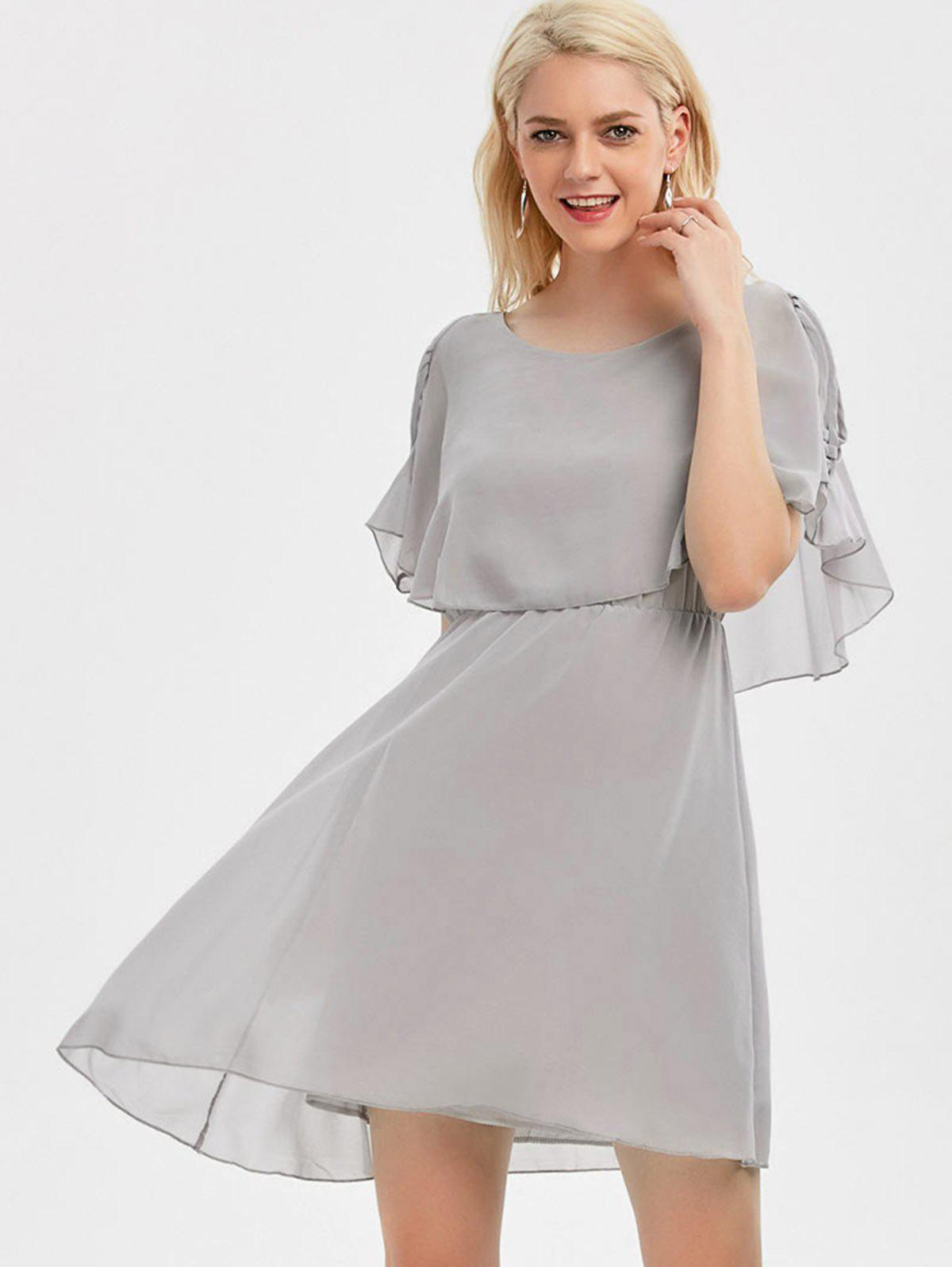 Ruffle Overlay Strappy Chiffon Cold Shoulder Dress - gris L