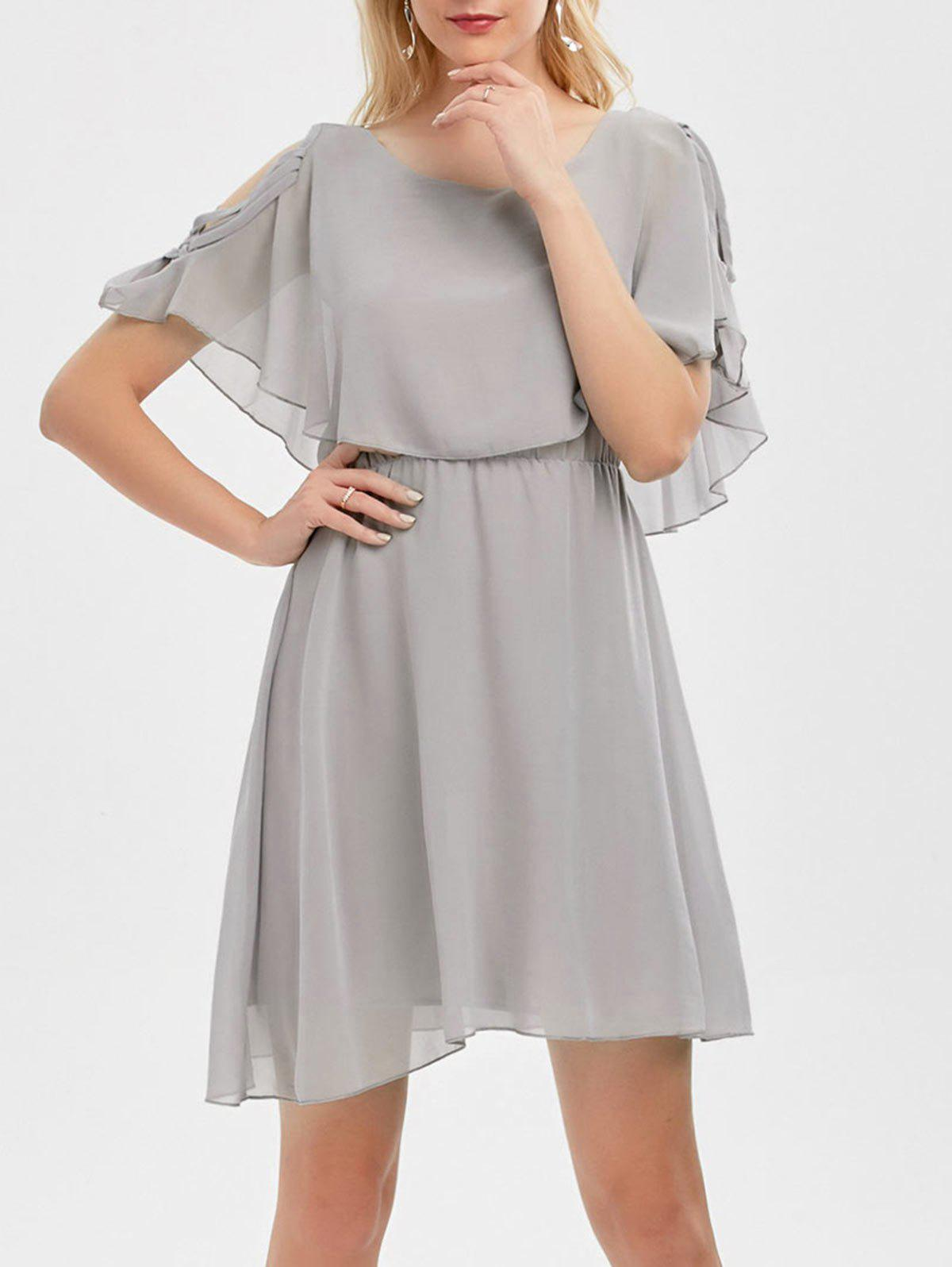 Ruffle Overlay Strappy Chiffon Cold Shoulder Dress - GRAY 2XL
