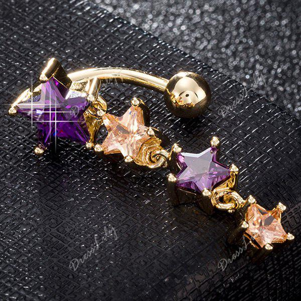Pentagram Design Artificial Gem Belly Button Jewelry - PURPLE