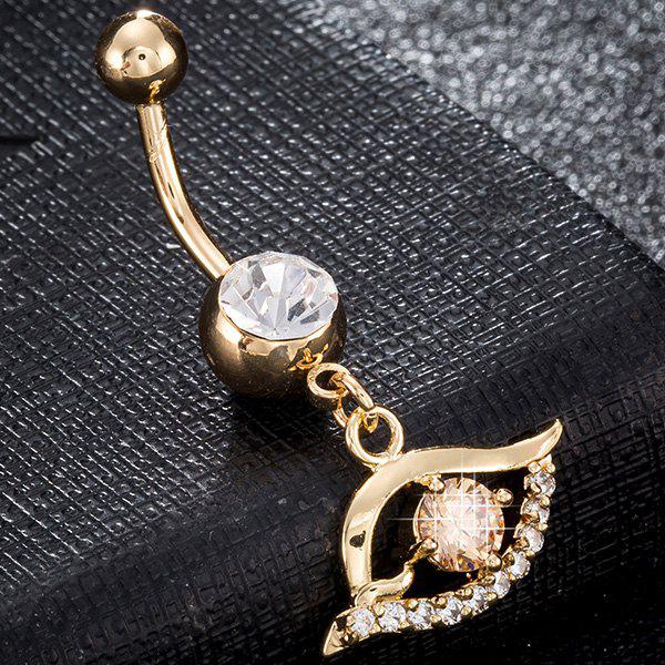 Artificial Gemstone Hollow Out Eye Navel Button - CHAMPAGNE GOLD