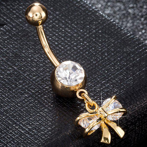 Artificial Gem Bowknot Rhinestone Navel Button - SILVER/GOLDEN