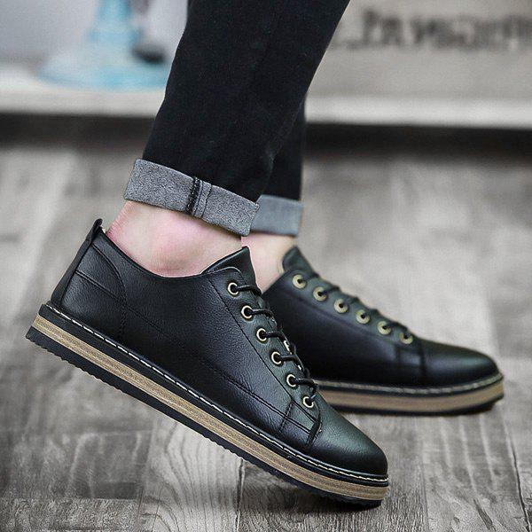PU Leather Stitching Tie Up Casual Shoes - Noir 44