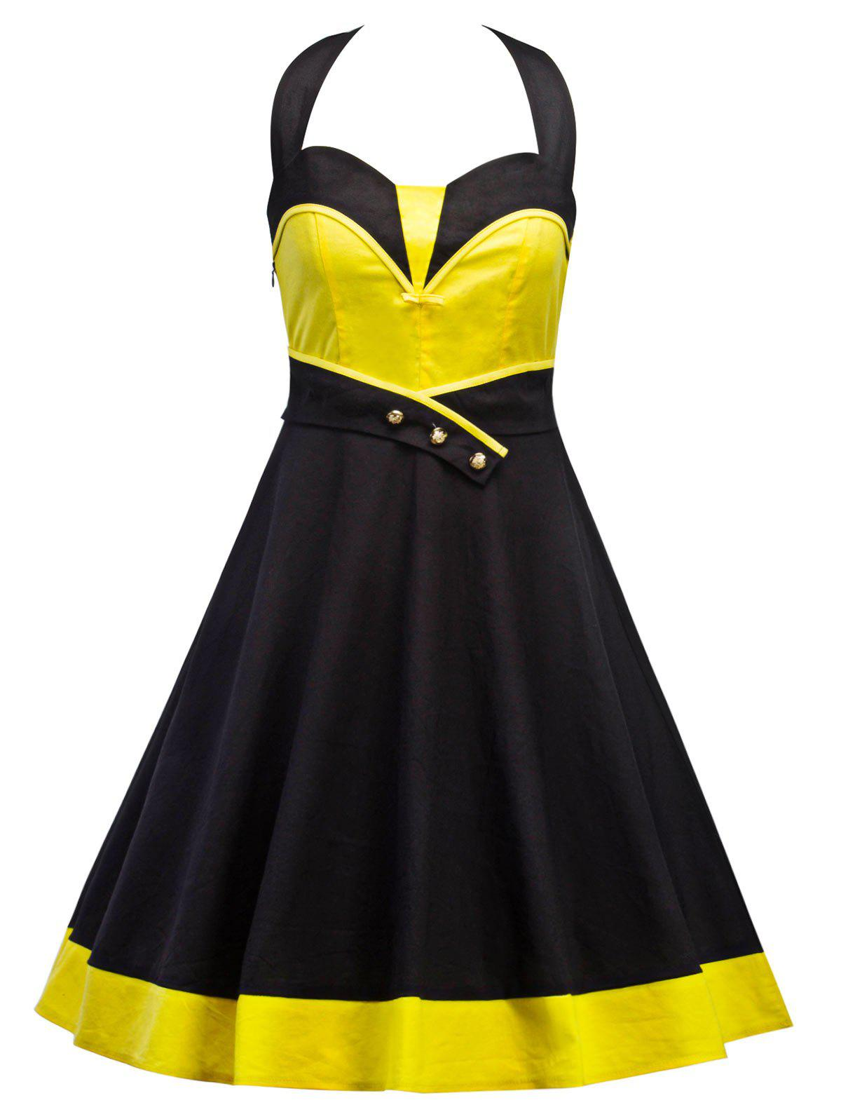 Vintage Halter Contraste Panel Dress - Jaune et Noir 2XL