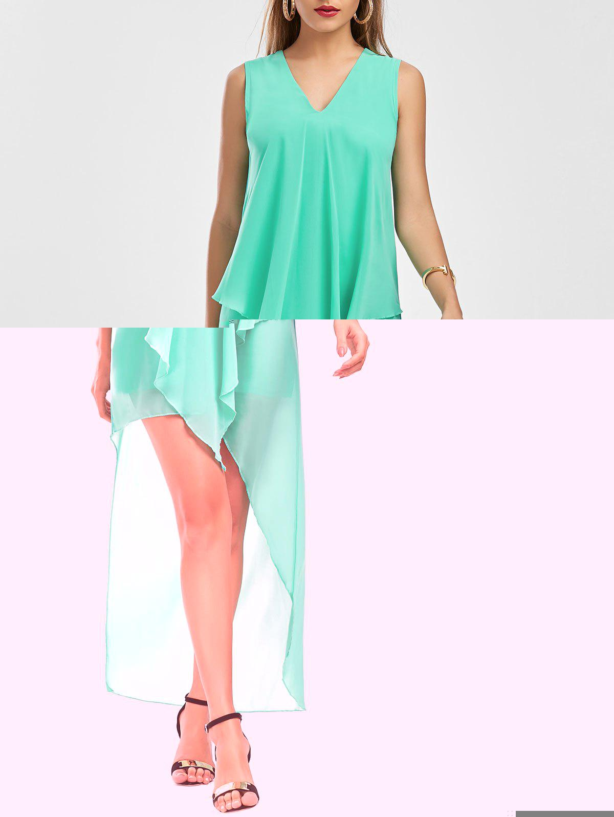 High Low Sleeveless Chiffon Dress - GREEN S