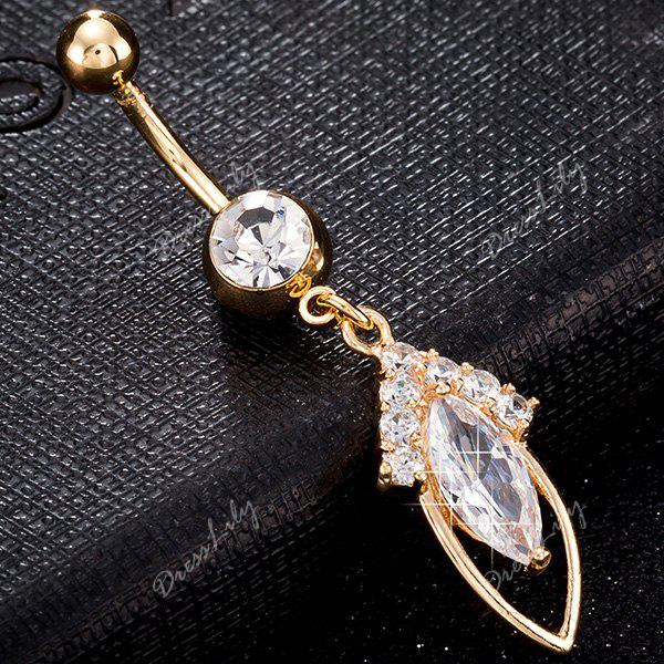 Fusiform Rhinestone Inlay Hollow Out bouton de nombril - Or