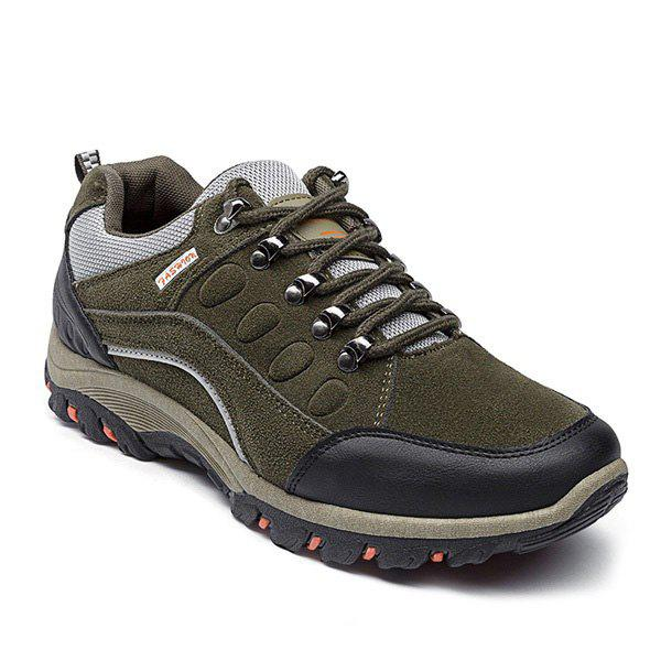 Colour Block Faux Suede Athletic Shoes - ARMY GREEN 42