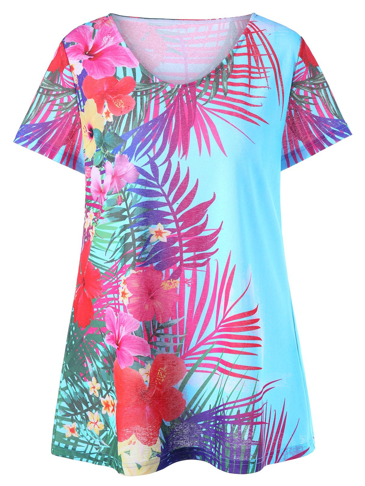 Plus Size Floral Hawaiian T-shirt - WINDSOR BLUE 5XL