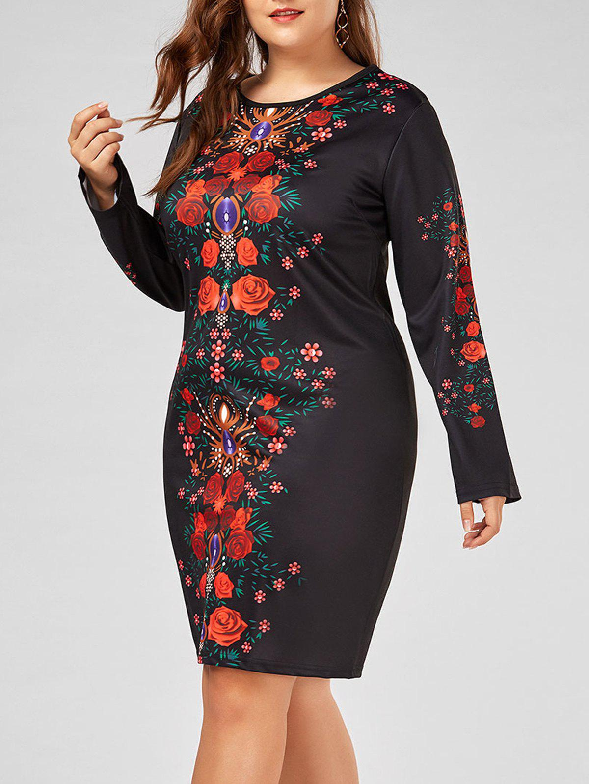 Plus Size Floral Printed Long Sleeve Bodycon Dress printed plus size bodycon fishtail dress