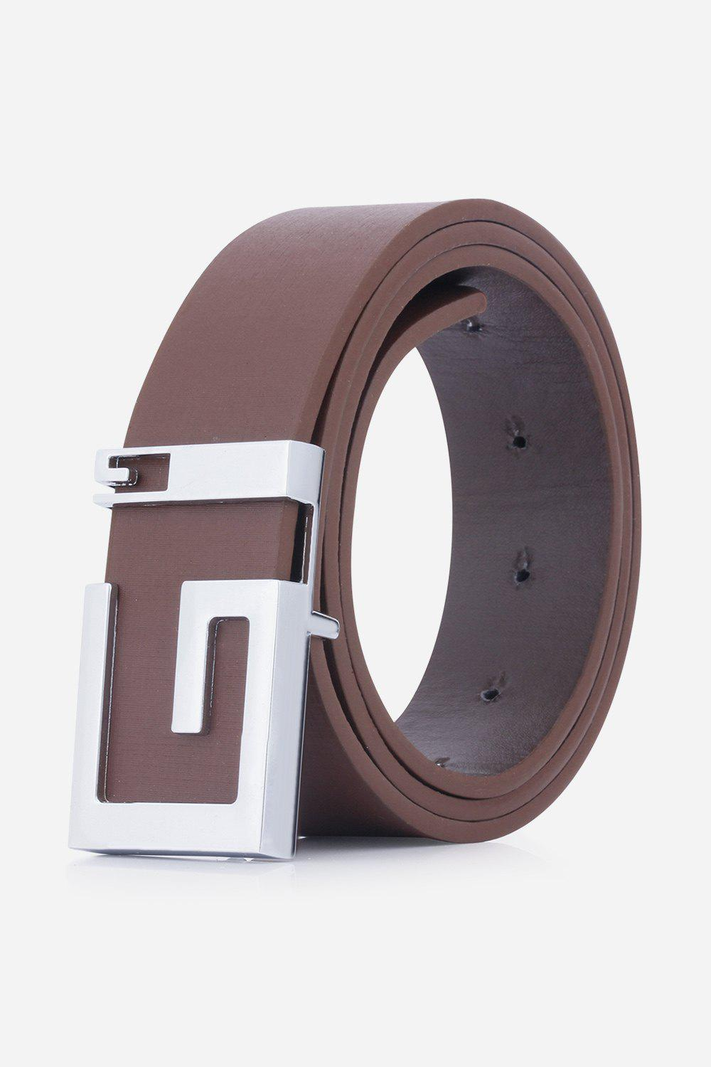Stylish Letter G Shape Buckle Men's Casual PU Belt - COFFEE
