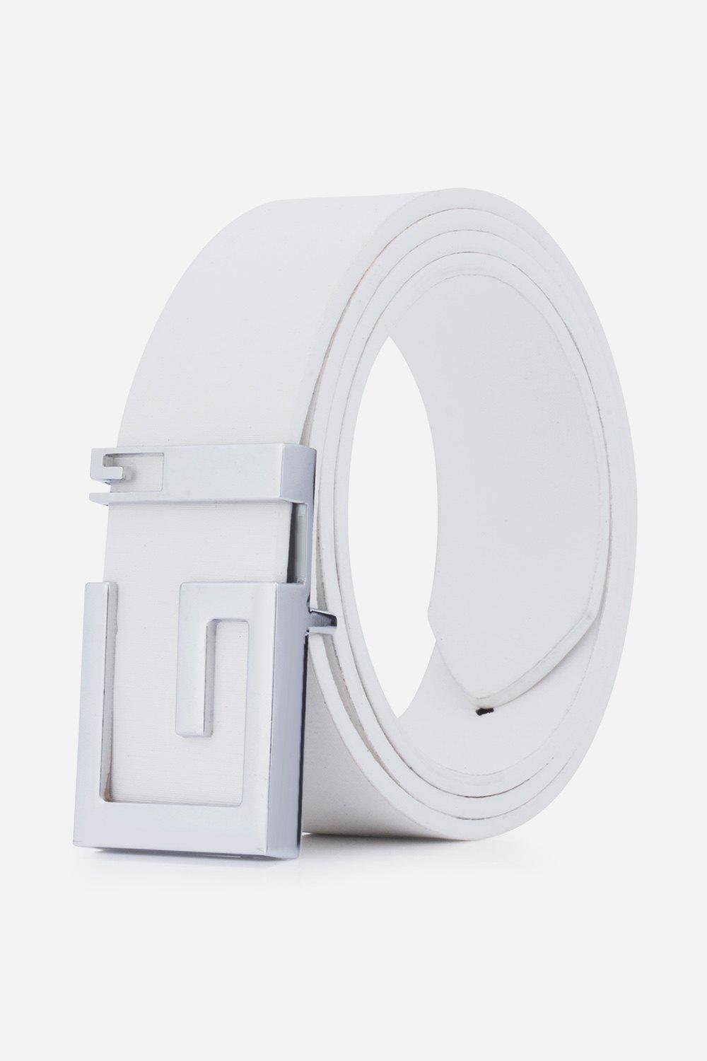 Stylish Letter G Shape Buckle Men's Casual PU Belt - WHITE