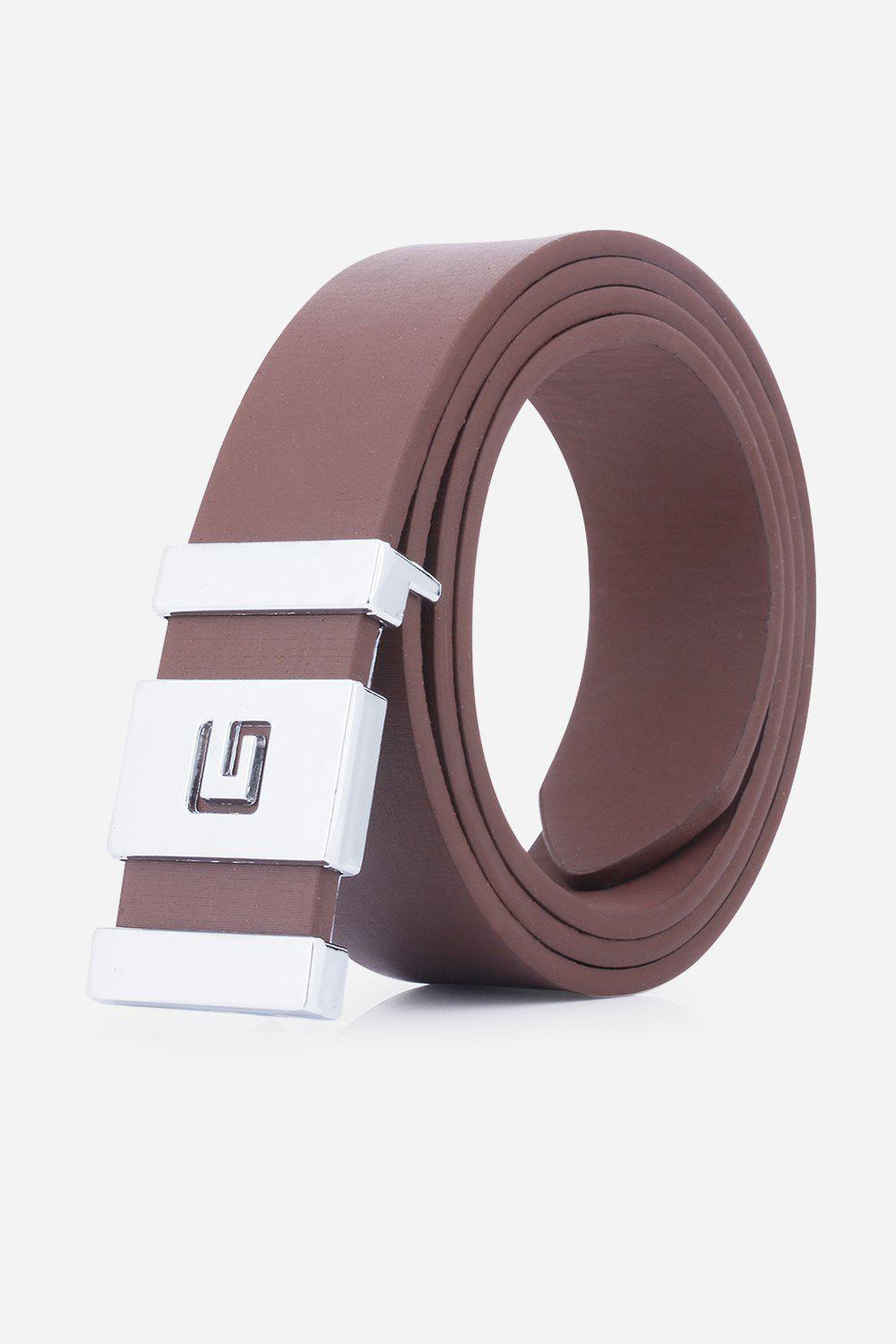 Stylish Letter G and Cut Out Design Buckle Men's Casual PU Belt - COFFEE