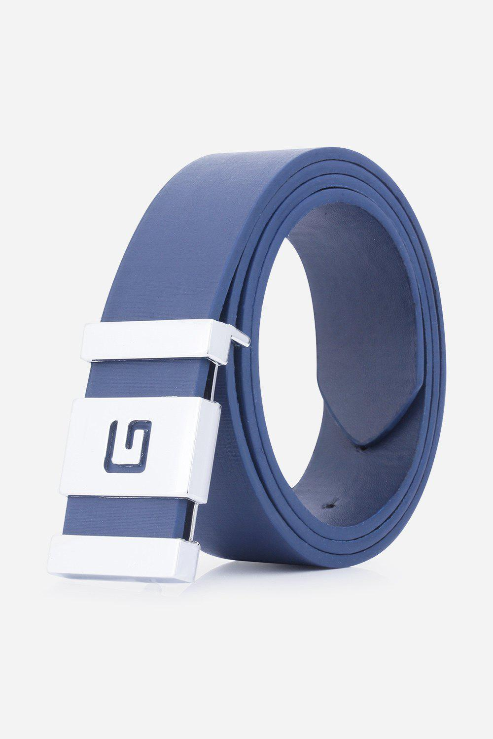 Stylish Letter G and Cut Out Design Buckle Men's Casual PU Belt - DEEP BLUE