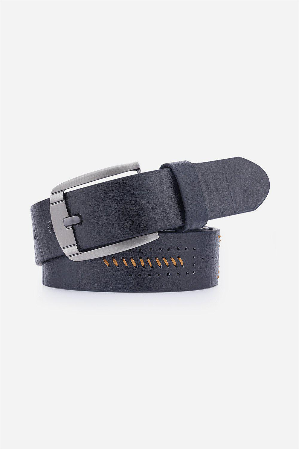 Pin Buckle Fake Leather Embroidered Holes Belt - BLACK