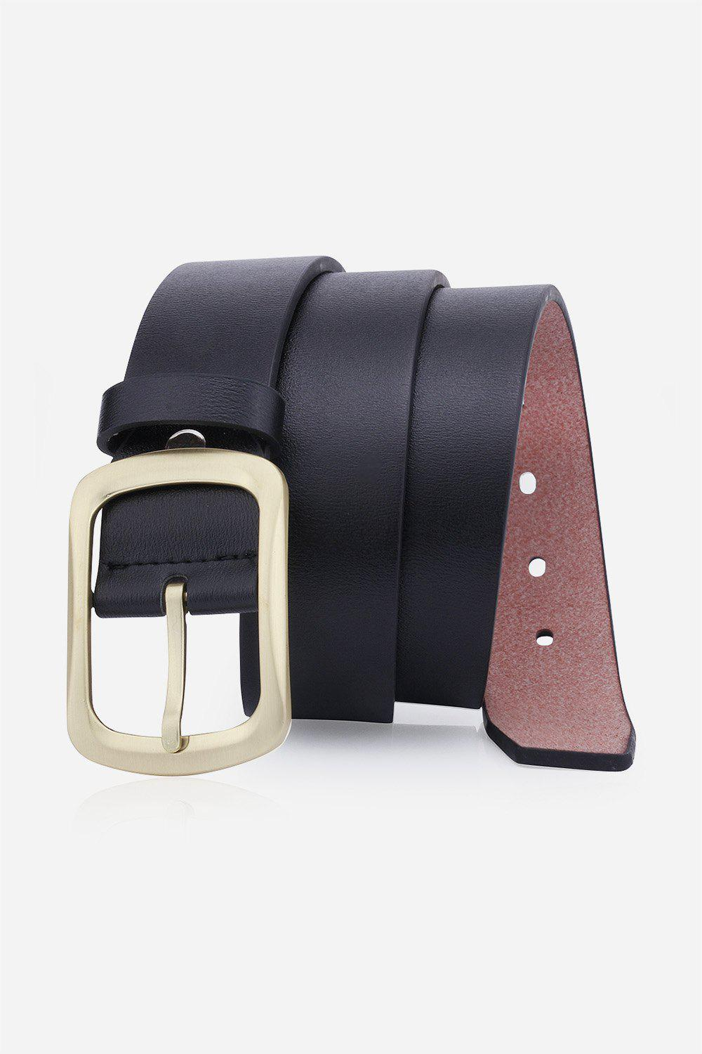 Retro Faux Leather Rectangular Pin Buckle Belt - BLACK