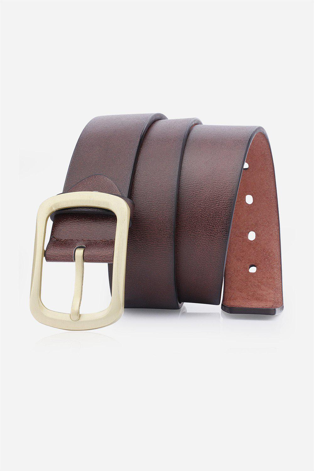Retro Faux Leather Rectangular Pin Buckle Belt - COFFEE