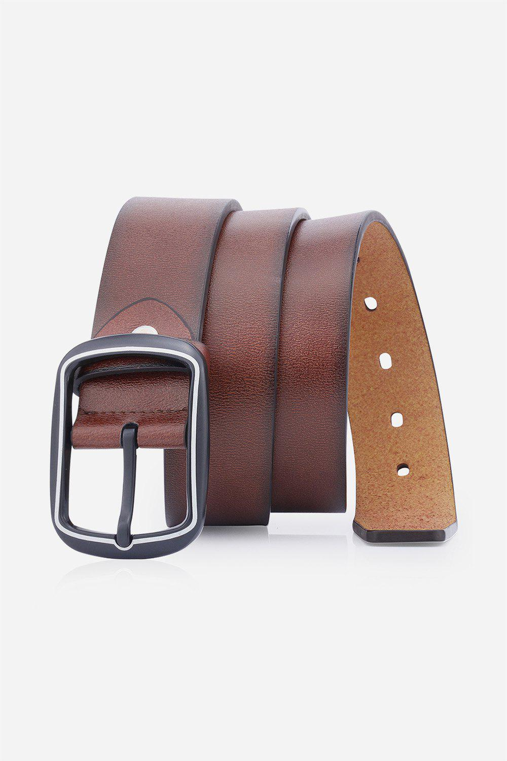 Artificial Leather Rectangular Pin Buckle Belt - BROWN