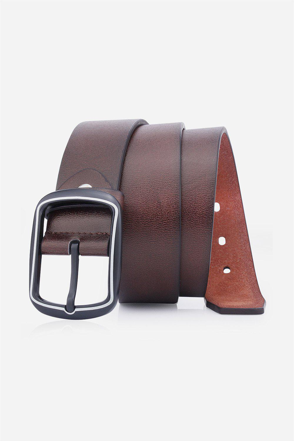 Artificial Leather Rectangular Pin Buckle Belt - COFFEE