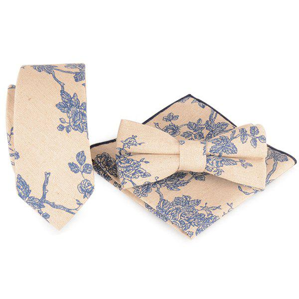 Fleur de branche Impression Cravate Mouchoir Bowtie Set - Lin Clair