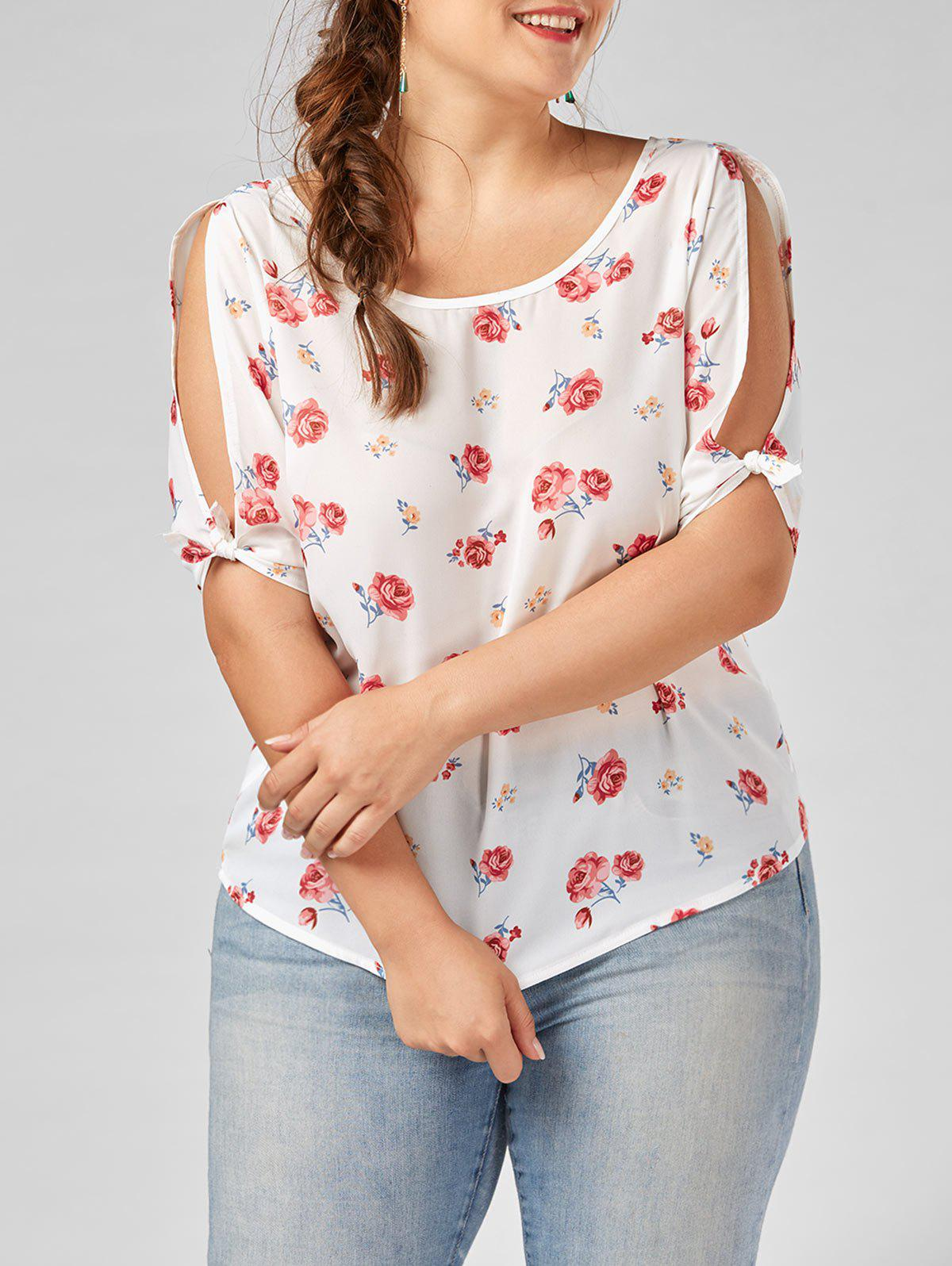 Split Sleeve Floral Plus Size Top plus size split sleeve embroidered top
