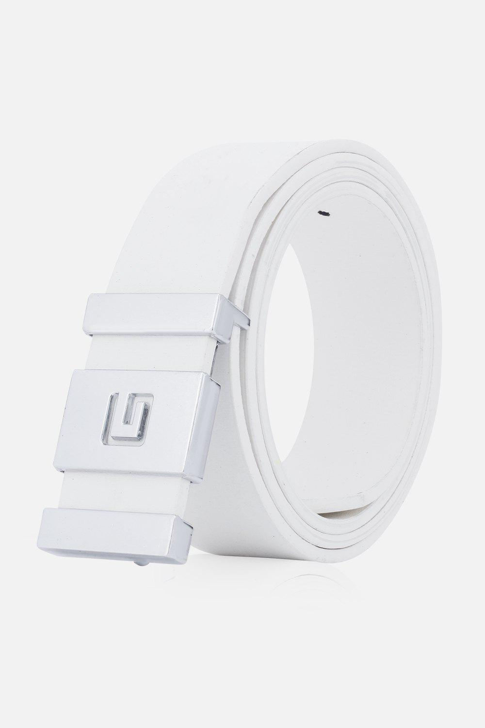Stylish Letter G and Cut Out Design Buckle Men's Casual PU Belt - WHITE