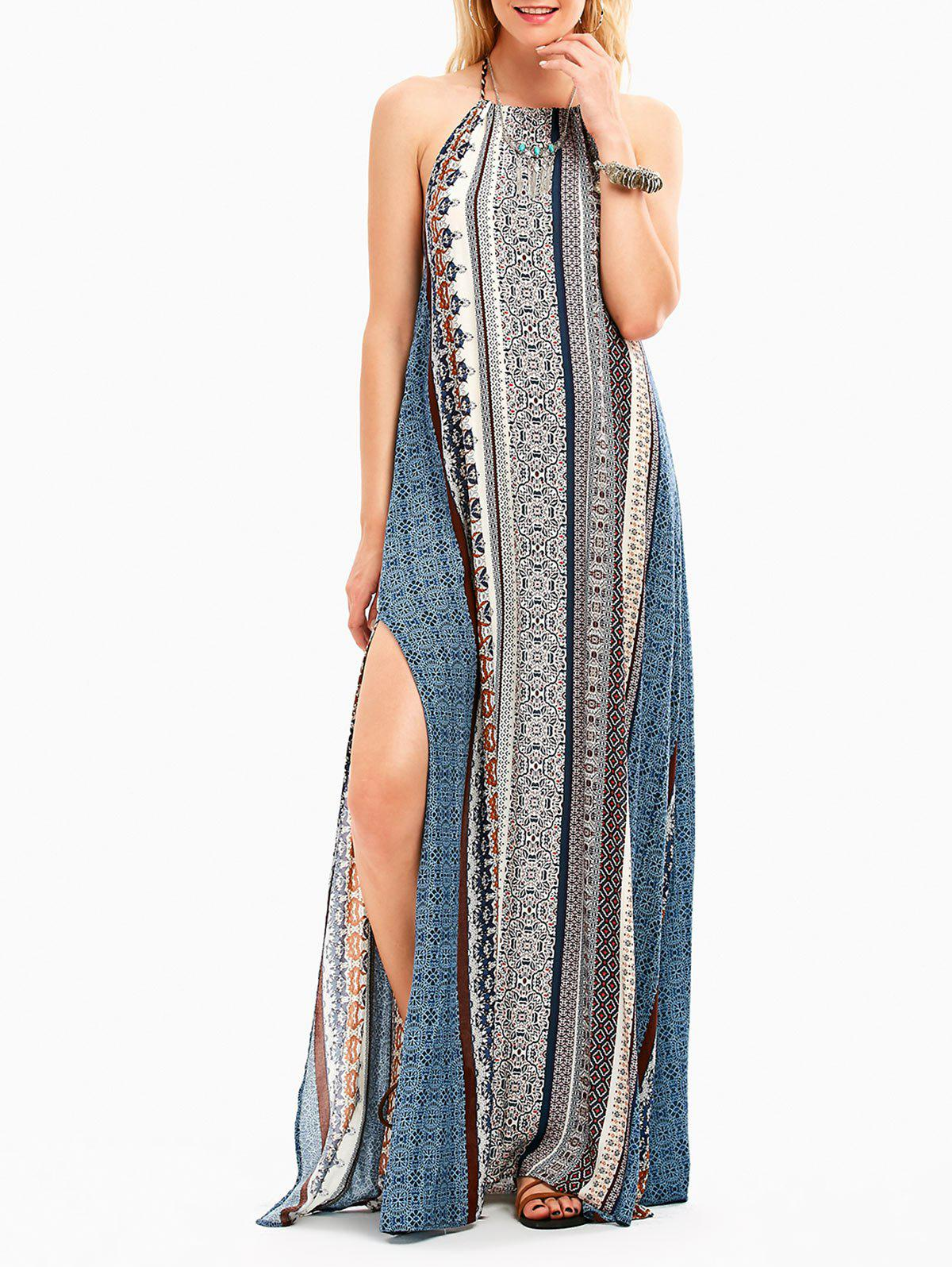 Bohemia Halter High Slit Backless Maxi Dress - COLORMIX XL
