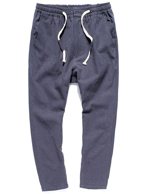 Muti-pocket Straight Leg Twill Casual Pants - gris foncé XL