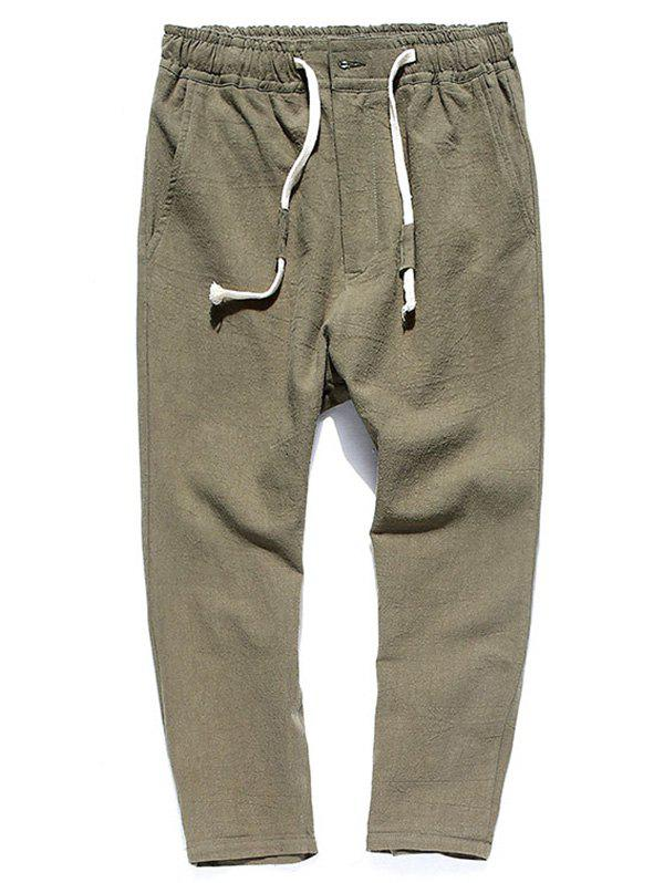 Muti-pocket Straight Leg Twill Casual Pants - Vert Armée XL