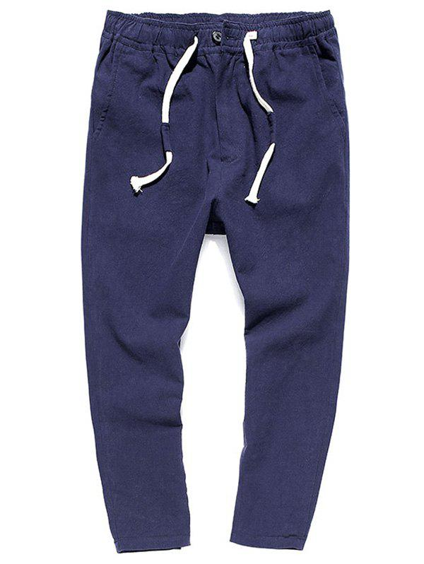 Muti-pocket Straight Leg Twill Casual Pants - Bleu Foncé XL