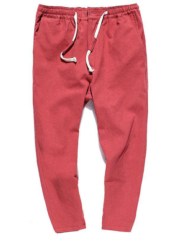 Muti-pocket Straight Leg Twill Casual Pants - Rouge XL