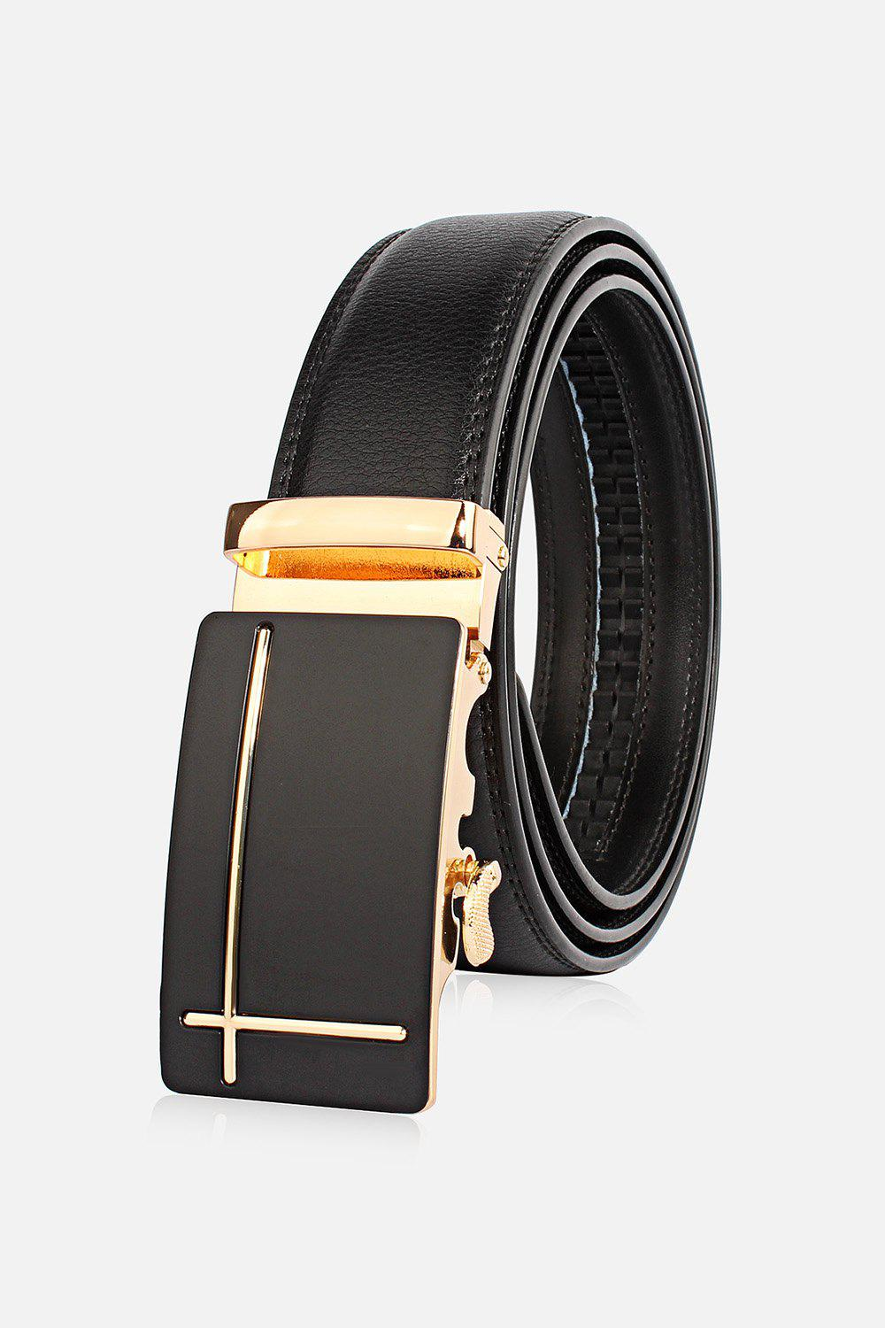 Perpendicular Line Polished Automatic Buckle Wide Belt stylish 3d y shape polished automatic buckle wide belt