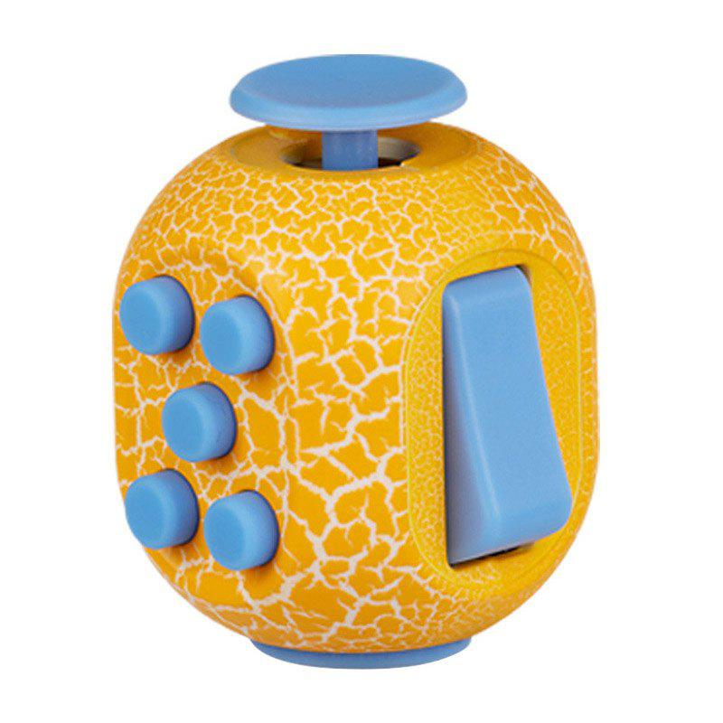 Crack Print Stress Relief Toy Fidget Rubik's Cube - YELLOW