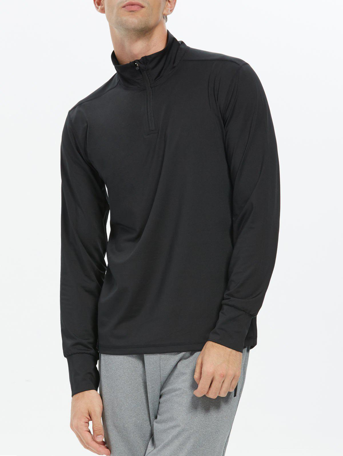 Half Zip Stand Collar Long Sleeve Top - BLACK M
