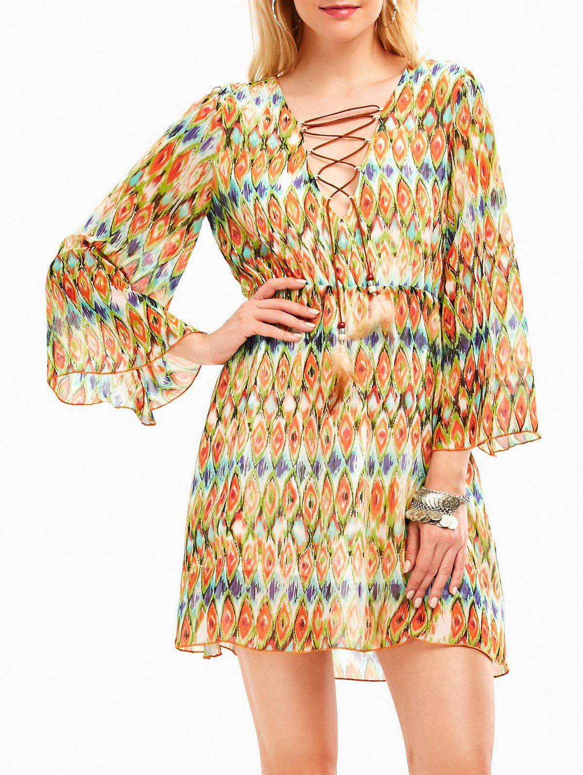 Plunging Neckline Snake Print Chiffon Bohemian Dress - LIGHT YELLOW M
