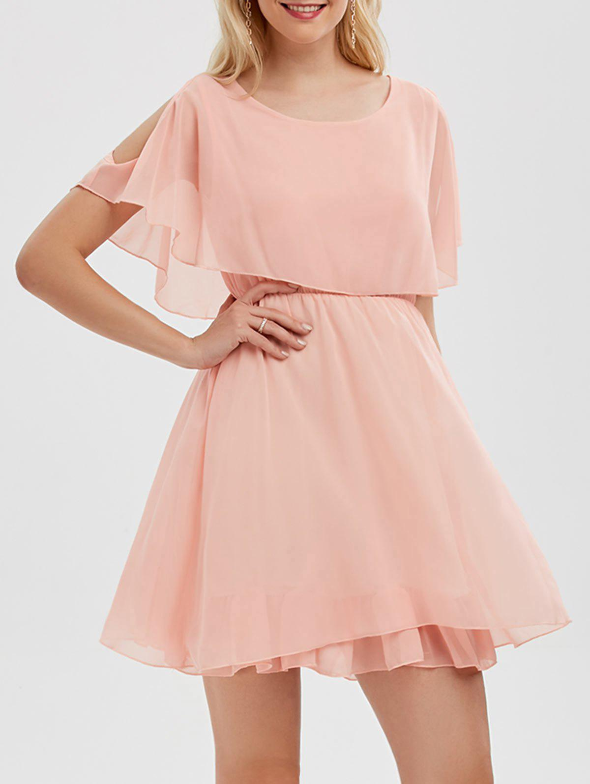 Ruffle Chiffon Cold Shoulder Mini Dress - ROSE PÂLE L