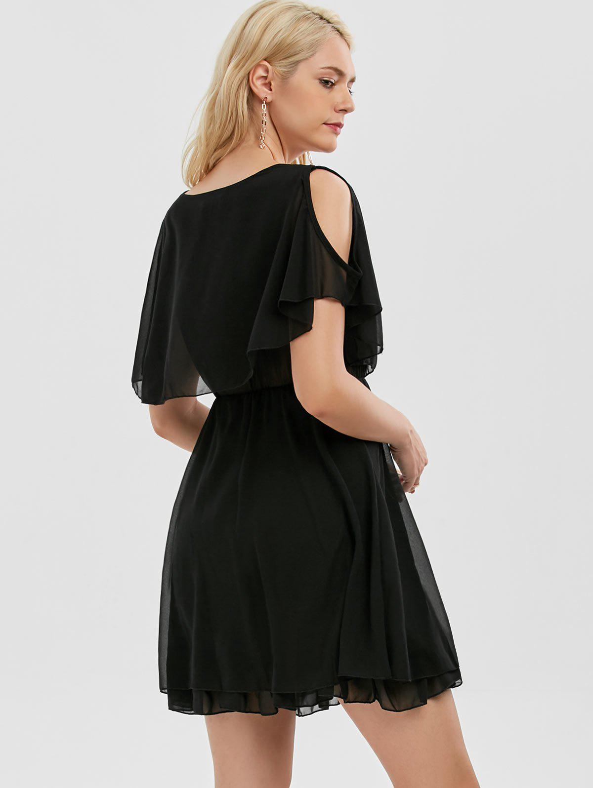 Ruffle Chiffon Cold Shoulder Mini Dress - BLACK XL