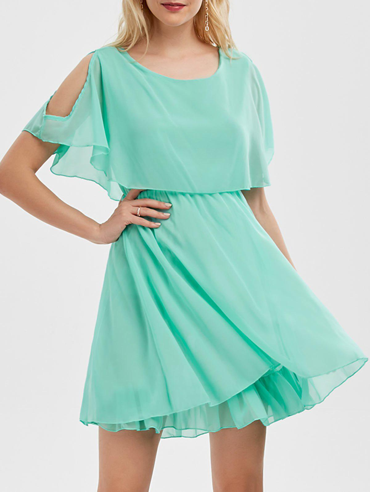Ruffle Chiffon Cold Shoulder Mini Dress - LIGHT GREEN 2XL