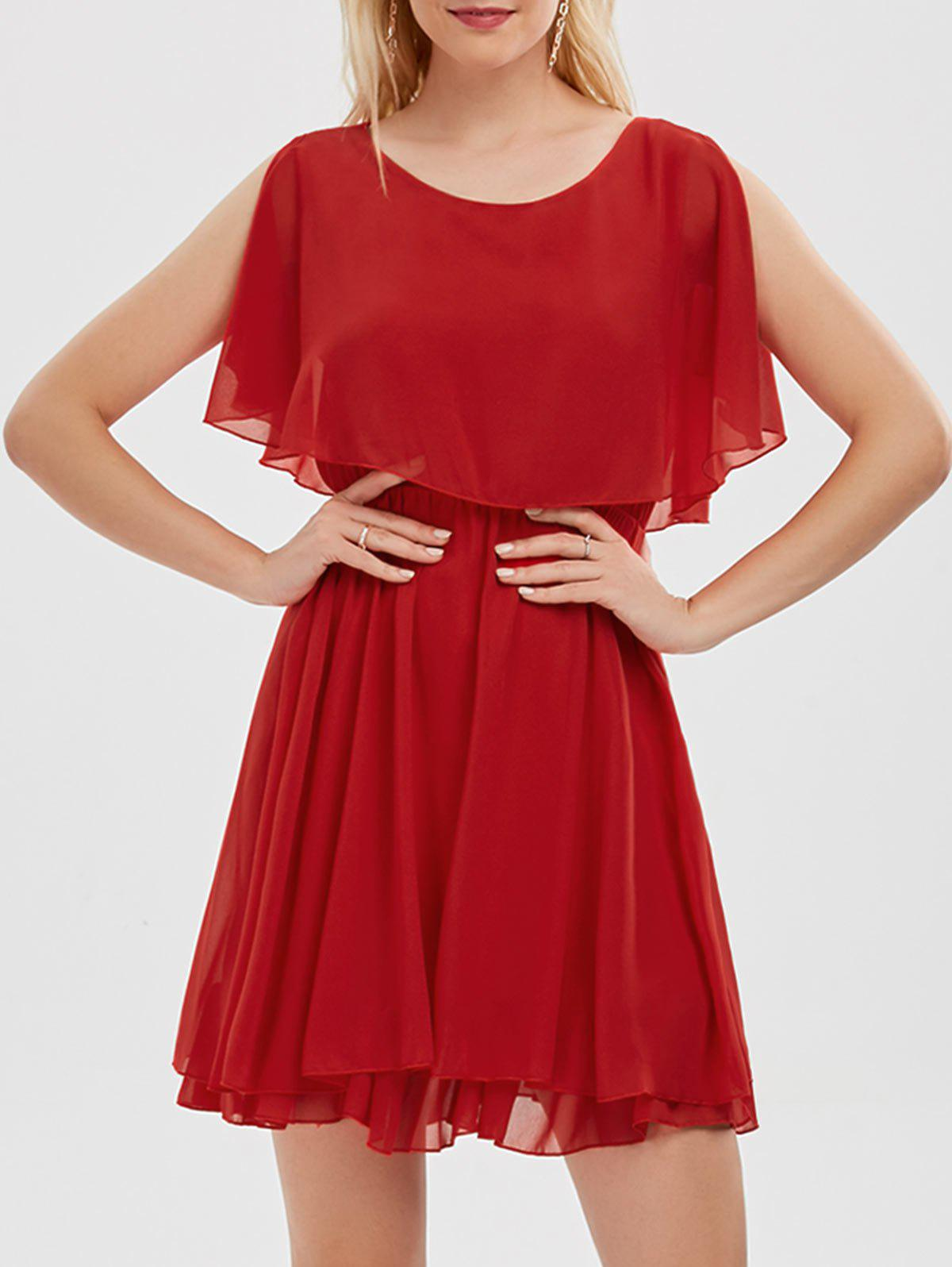 Ruffle Chiffon Cold Shoulder Mini Dress - Rouge XL