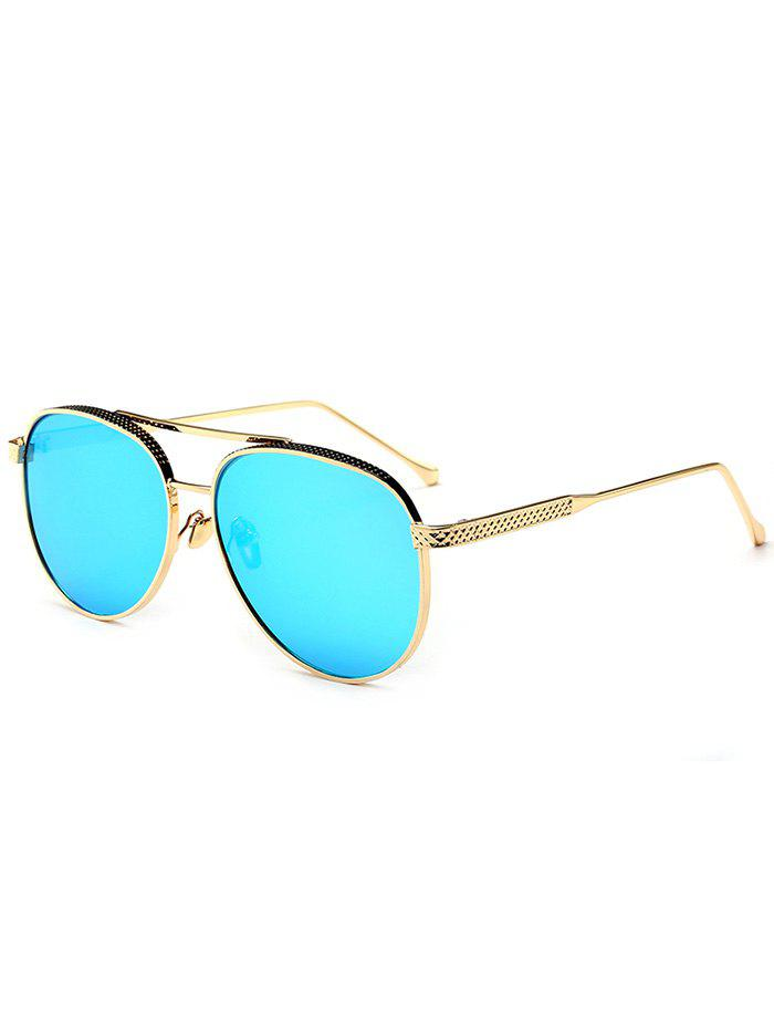 Mirrored Double Metallic Crossbar Pilot Sunglasses hollow out frame crossbar pilot mirrored sunglasses