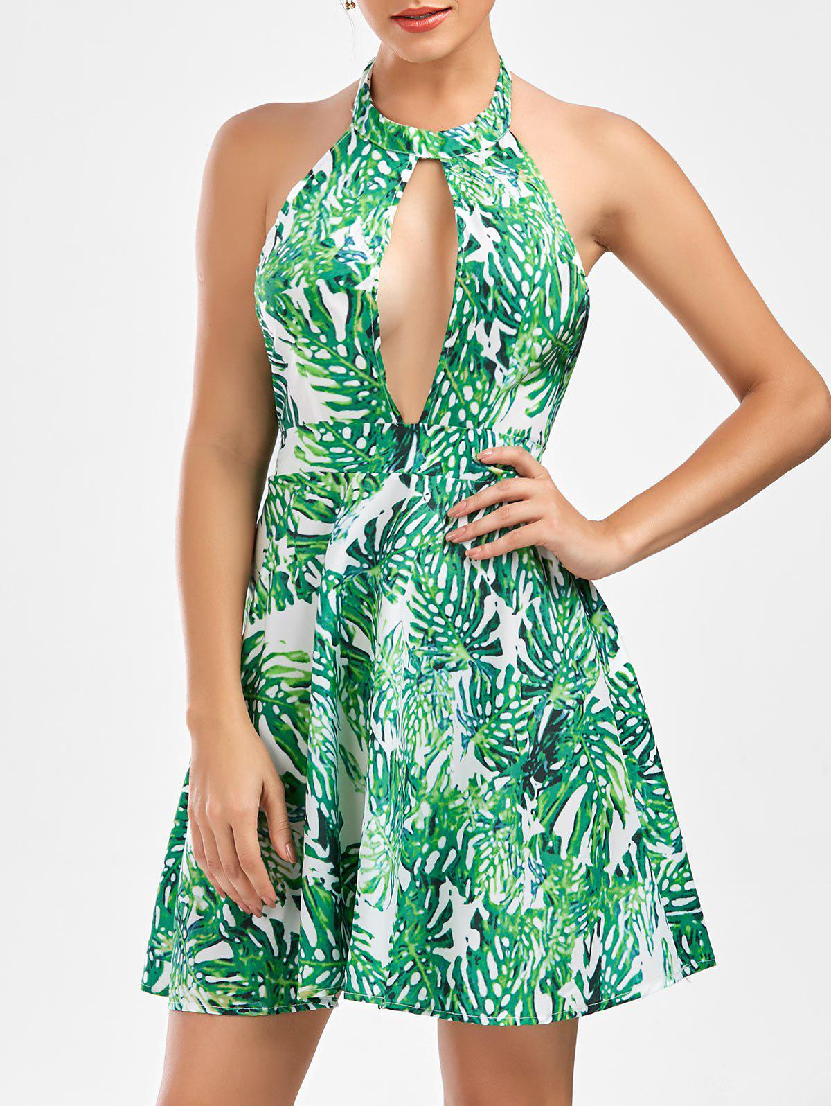 Leaf Print Cut Out Open Back Dress - GREEN S