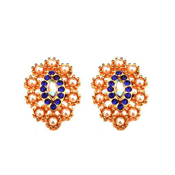 Énoncé Faux Pearl Rhinestone Leaf Earrings - Bleu