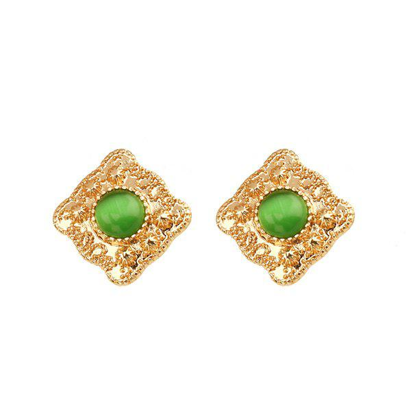 Artificial Emerald Geometric Engraved Stud Earrings - Vert