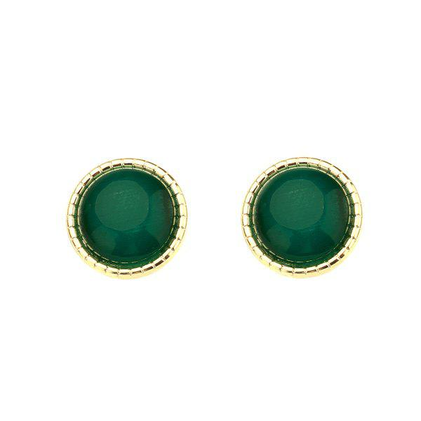 Faux Emerald Tiny Circle Stud Earrings - Vert