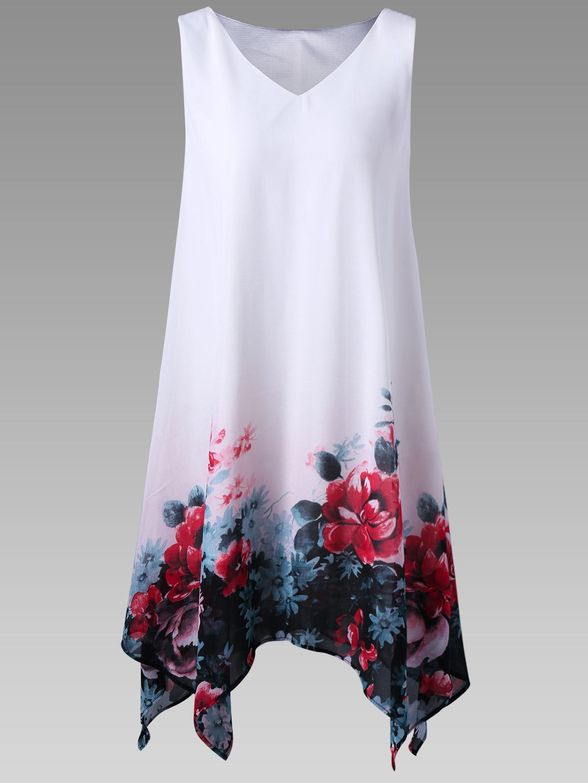 Plus Size Floral Handkerchief Dress - WHITE 2XL