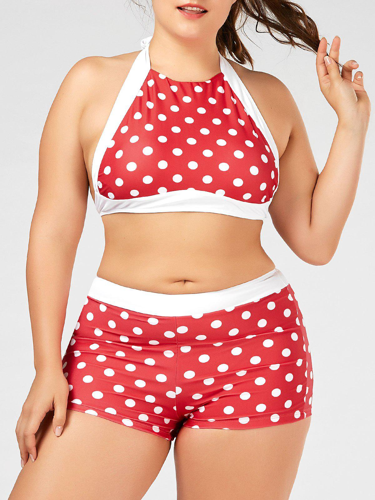 Plus Size Halter Polka Dot Bikini Swimwear - RED 3XL