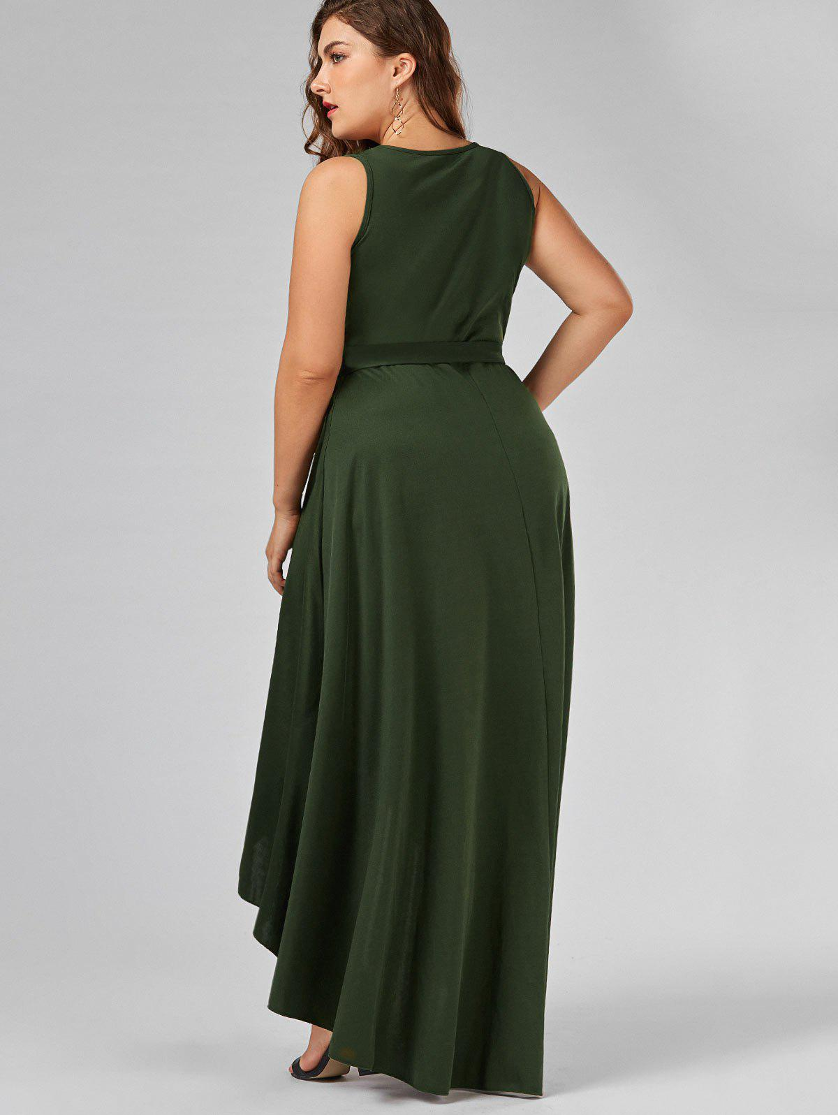 25aed55b1ac 2018 V Neck High Low Plus Size Prom Dress ARMY GREEN XL In