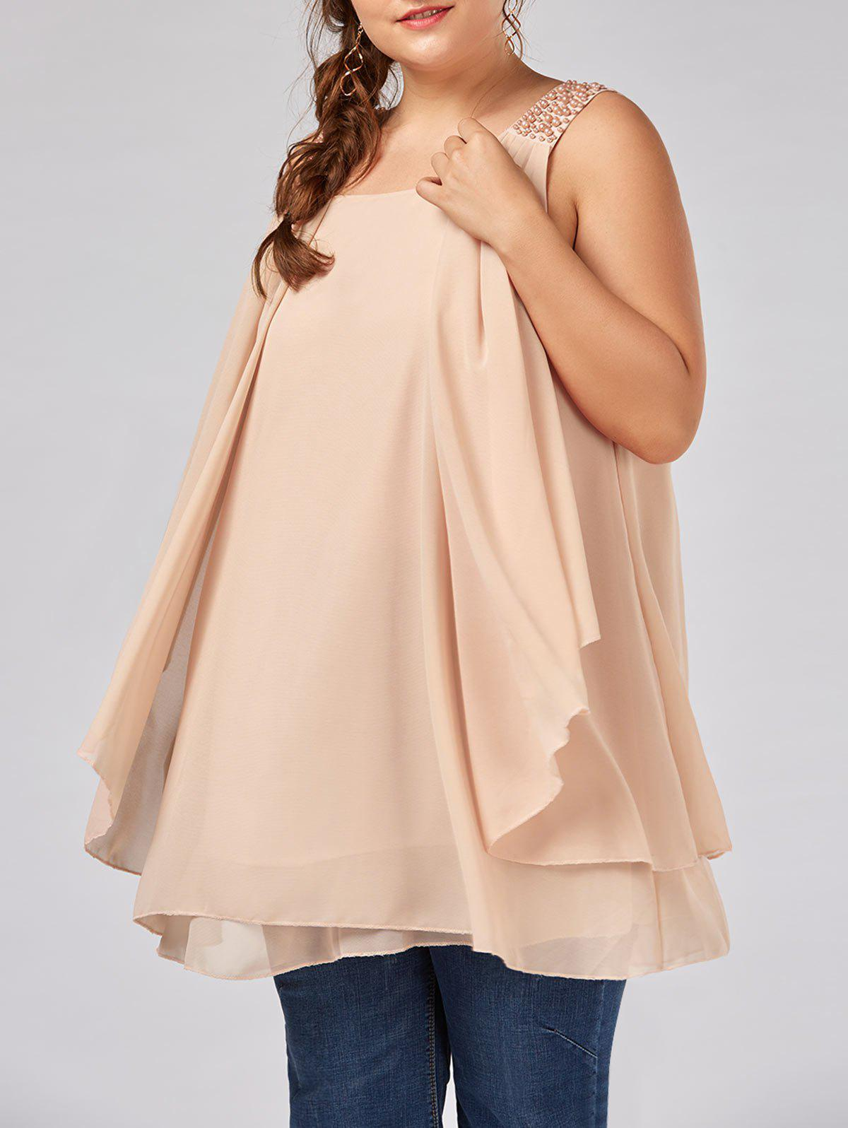 Plus Size Beaded Ruffle Layered Chiffon Flowy Tank Top plus size pocket two layered chiffon top
