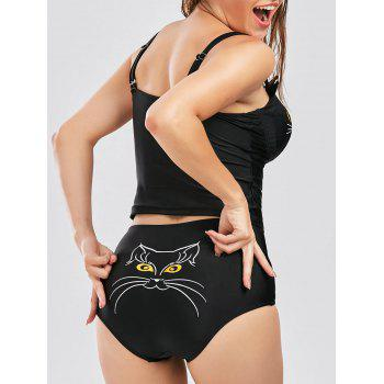 High Waist Cat Shape Cami Tankini Set