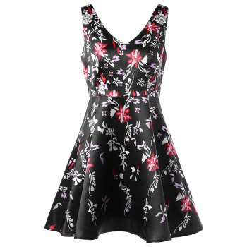 Tiny Floral V Neck Skater Dress