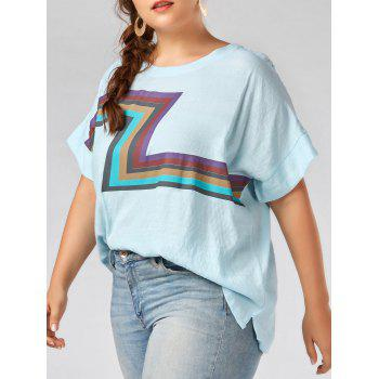 Plus Size Zigzag Graphic Plain T-shirt